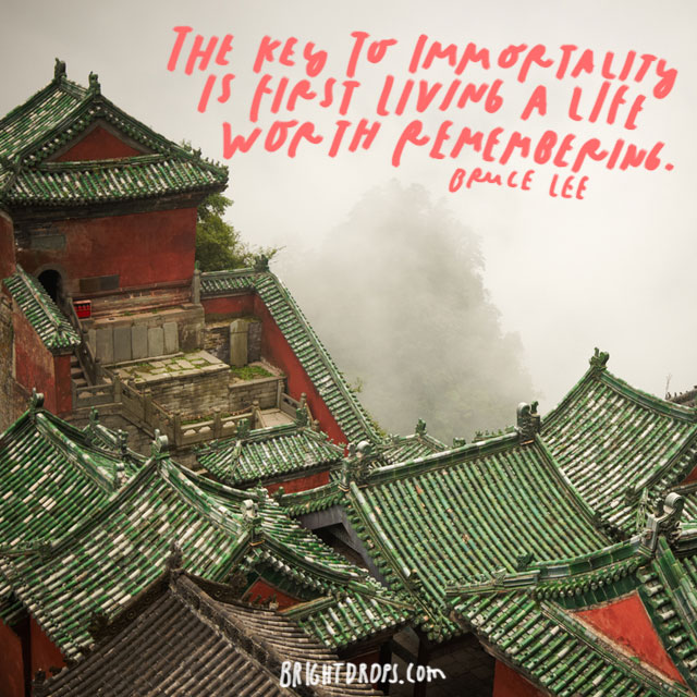 """ The key to immortality is first living a life worth remembering."" - Bruce Lee<"
