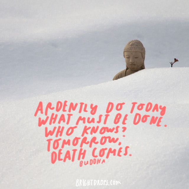 """Ardently do today what must be done. Who knows? Tomorrow, death comes."" – Buddha"