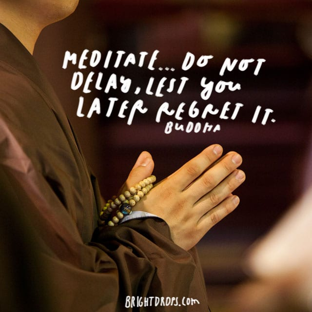 """Meditate … do not delay, lest you later regret It."" – Buddha"