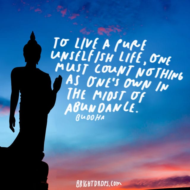 """To live a pure unselfish life, one must count nothing as one's own in the midst of abundance."" – Buddha"