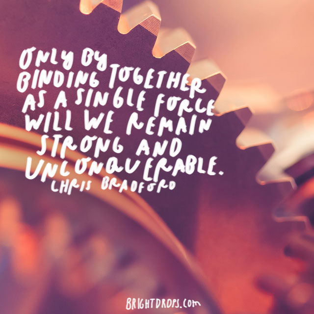 """""""Only by binding together as a single force will we remain strong and unconquerable."""" - Chris Bradford"""