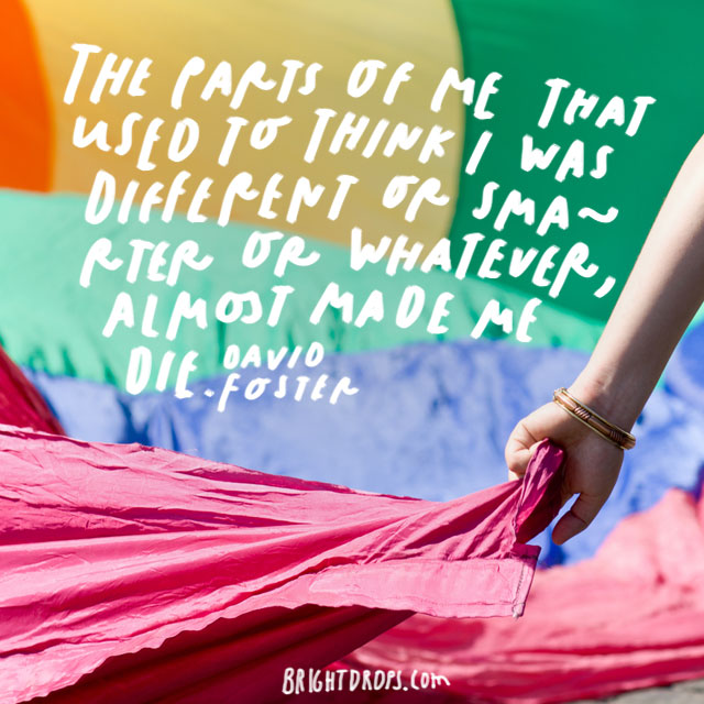 """""""The parts of me that used to think I was different or smarter or whatever, almost made me die."""" - David Foster"""