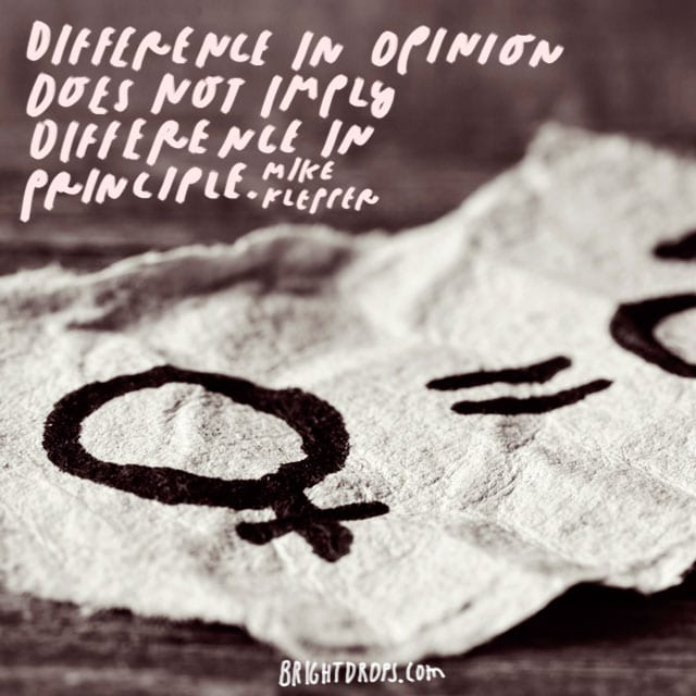 """""""Difference in opinion does not imply difference in principle."""" - Mike Klepper"""