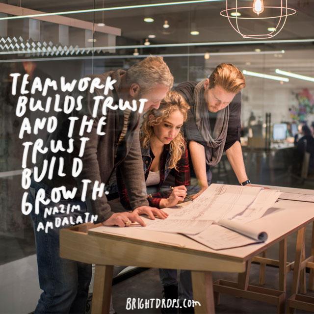 """Teamwork builds trust and the trust build growth."" - Nazim Ambalath"