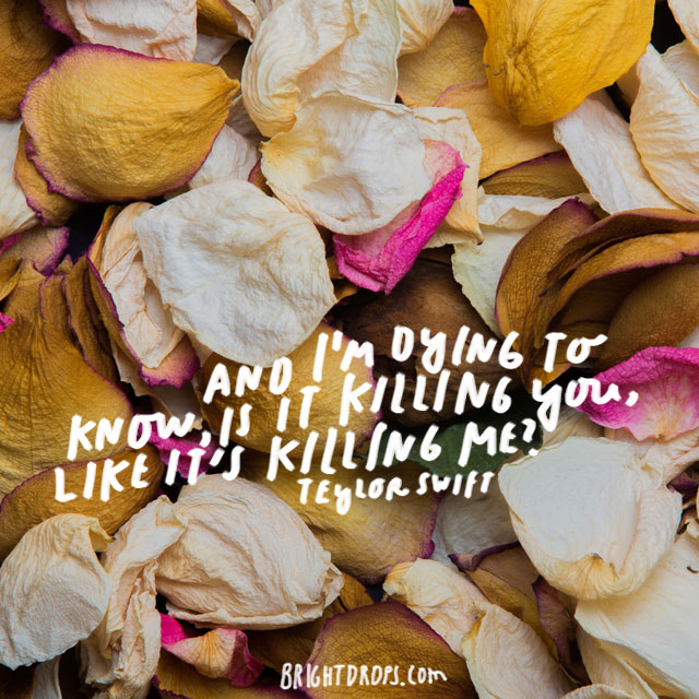 """And I'm dying to know, is it killing you like it's killing me?"" - Taylor Swift"