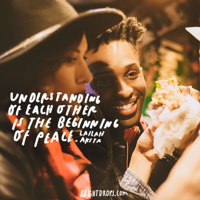 """Understanding of each other is the beginning of peace."" - Lailah Akita"