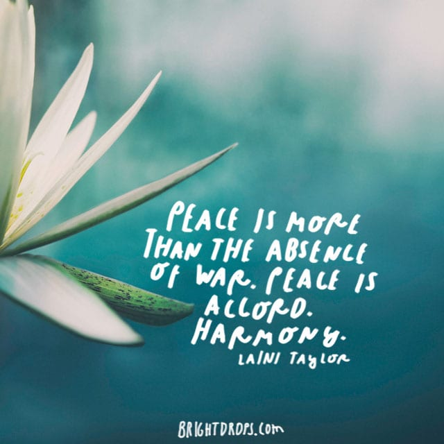"""Peace is more than the absence of war. Peace is accord. Harmony."" - Laini Taylor"