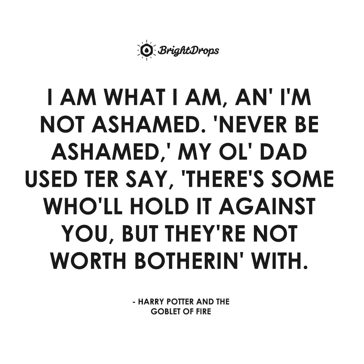 I am what I am, an' I'm not ashamed. 'Never be ashamed,' my ol' dad used ter say, 'there's some who'll hold it against you, but they're not worth botherin' with. - Harry Potter and the Goblet of Fire