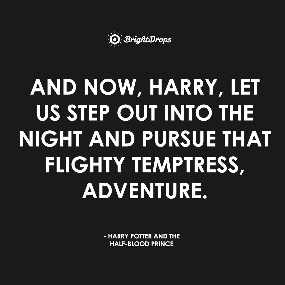 And now, Harry, let us step out into the night and pursue that flighty temptress, adventure. - Harry Potter and the Half-Blood Prince