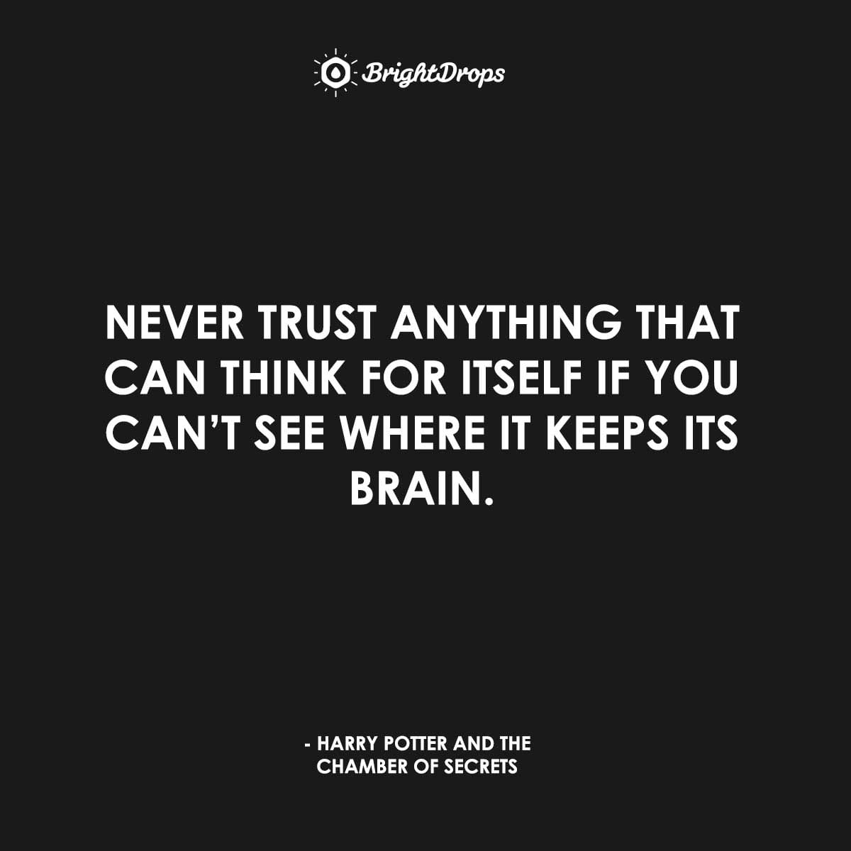 Never trust anything that can think for itself if you can't see where it keeps its brain. - Harry Potter and the Chamber of Secrets