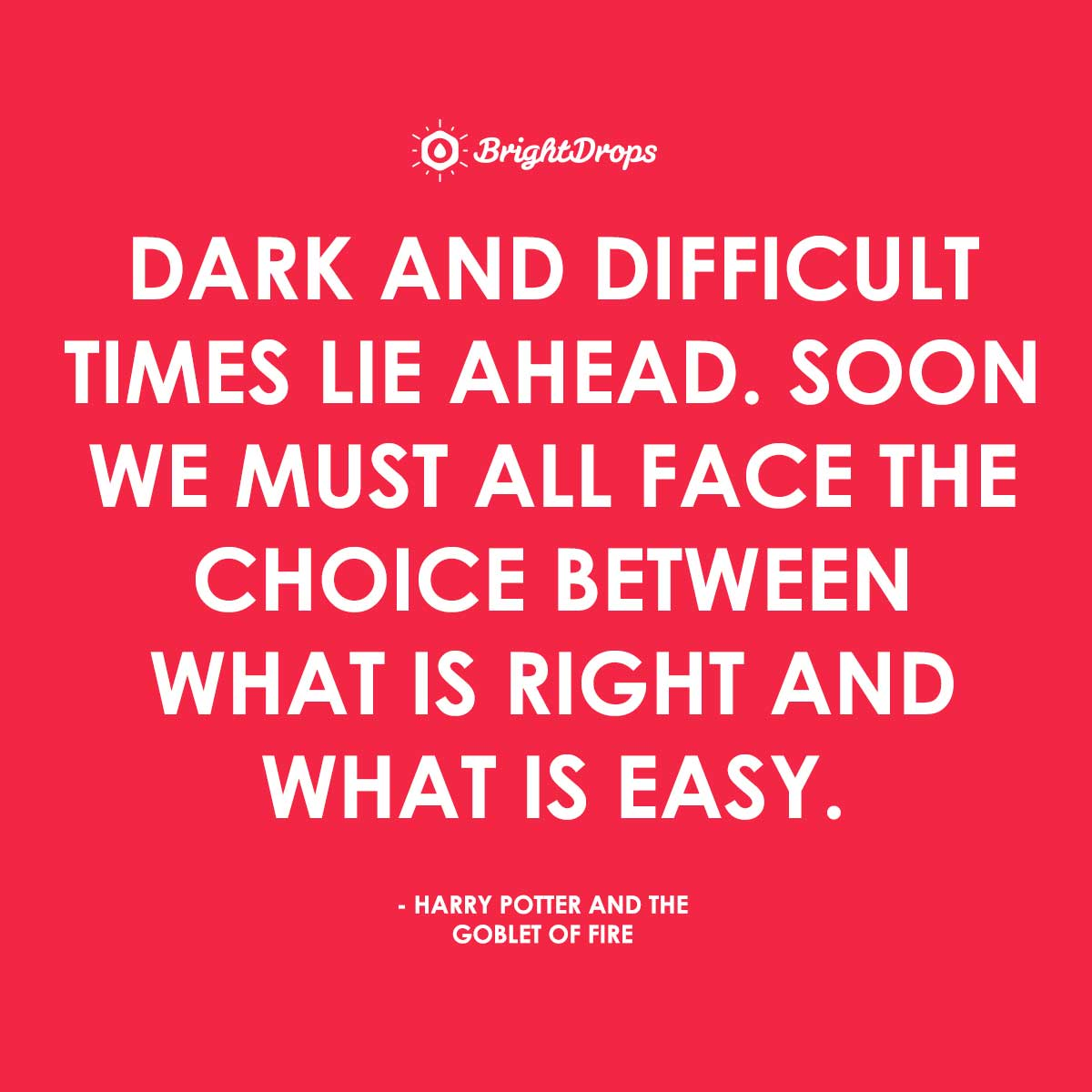 Dark and difficult times lie ahead. Soon we must all face the choice between what is right and what is easy. - Harry Potter and the Goblet of Fire