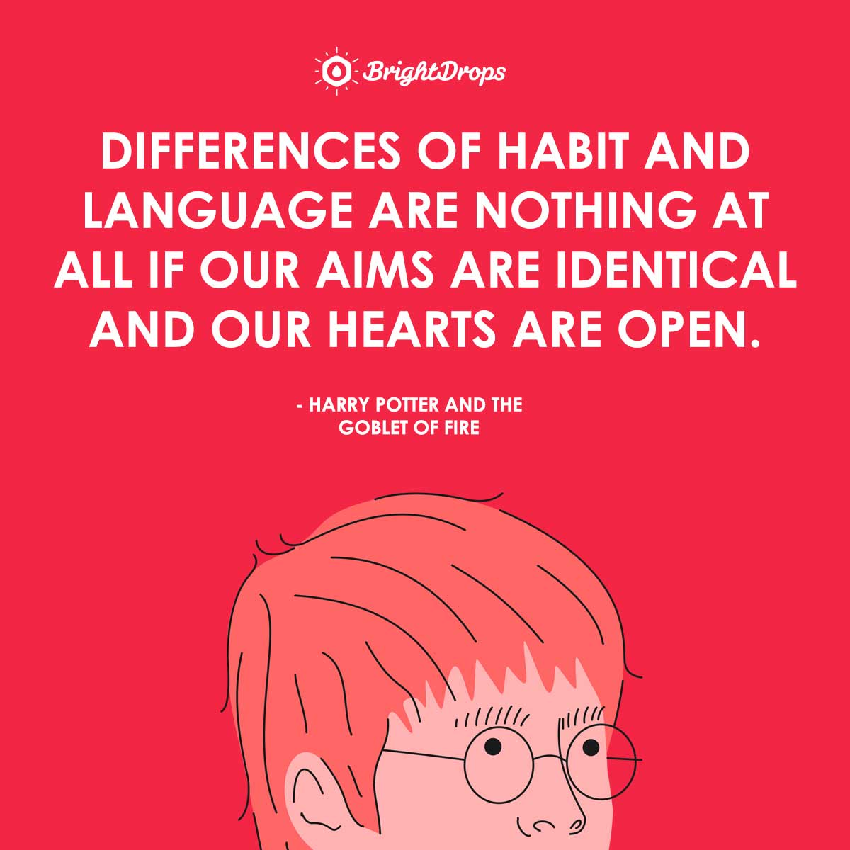 Differences of habit and language are nothing at all if our aims are identical and our hearts are open. - Harry Potter and the Goblet of Fire