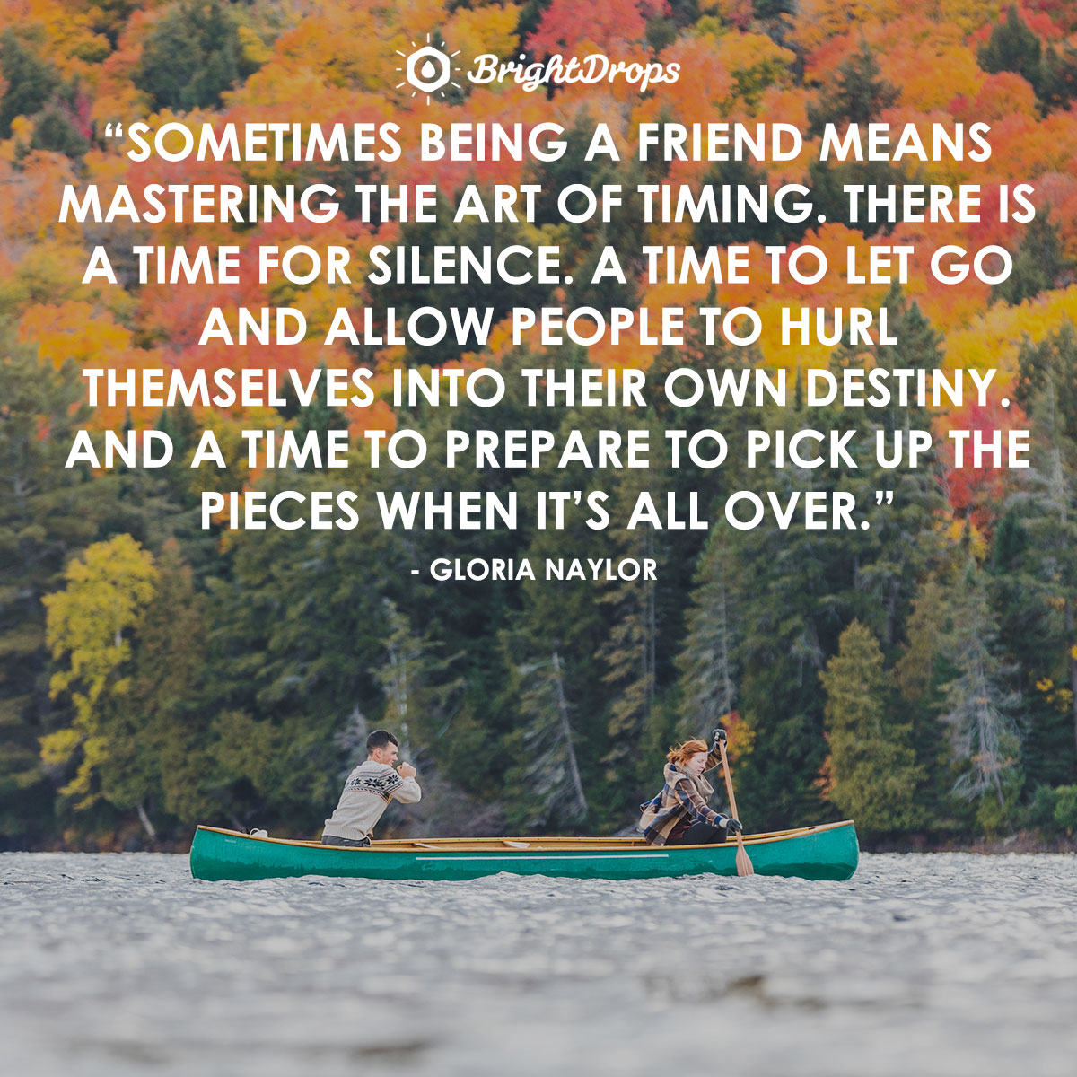 Sometimes being a friend means mastering the art of timing. There is a time for silence. A time to let go and allow people to hurl themselves into their own destiny. And a time to prepare to pick up the pieces when it's all over. - Gloria Naylor