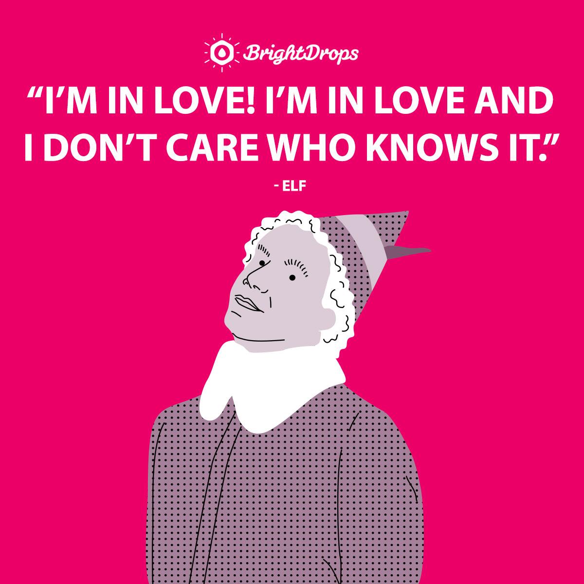 I'm in love! I'm in love and I don't care who knows it. - Elf