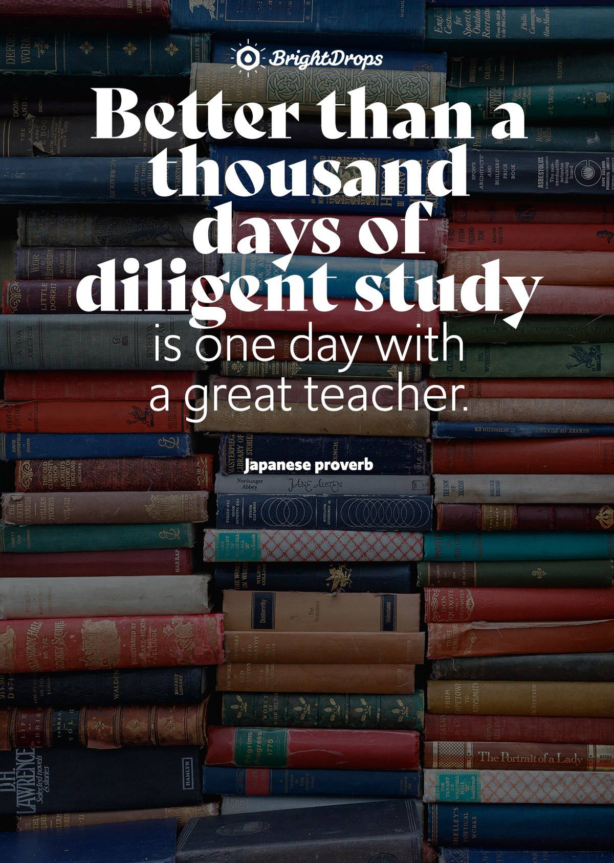 Better than a thousand days of diligent study is one day with a great teacher. - Japanese proverb