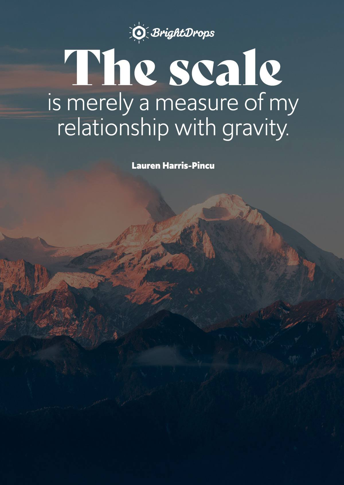 The scale is merely a measure of my relationship with gravity. - Lauren Harris-Pincu