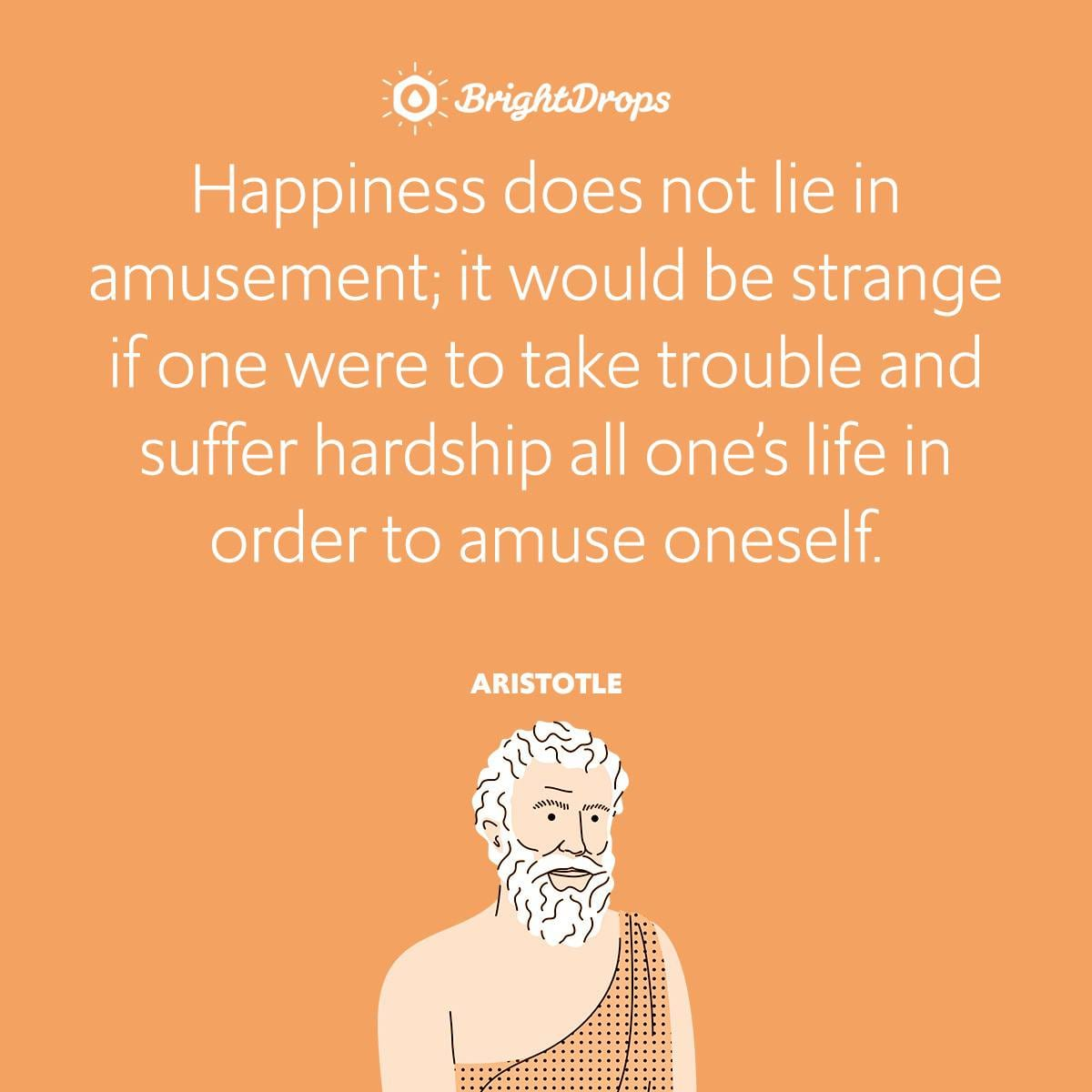 Happiness does not lie in amusement; it would be strange if one were to take trouble and suffer hardship all one's life in order to amuse oneself.