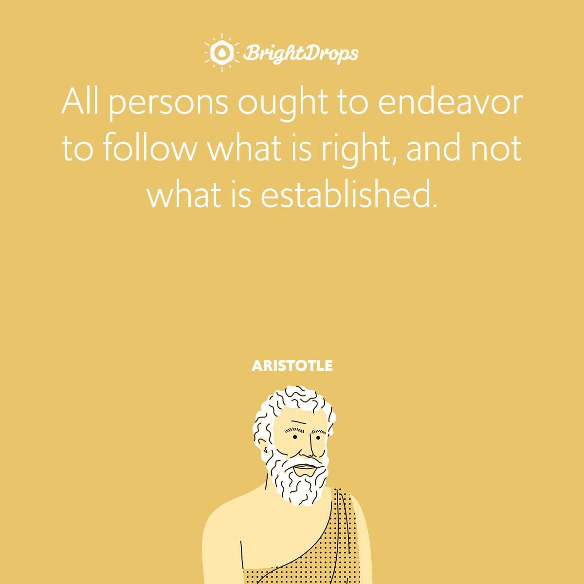 All persons ought to endeavor to follow what is right, and not what is established.