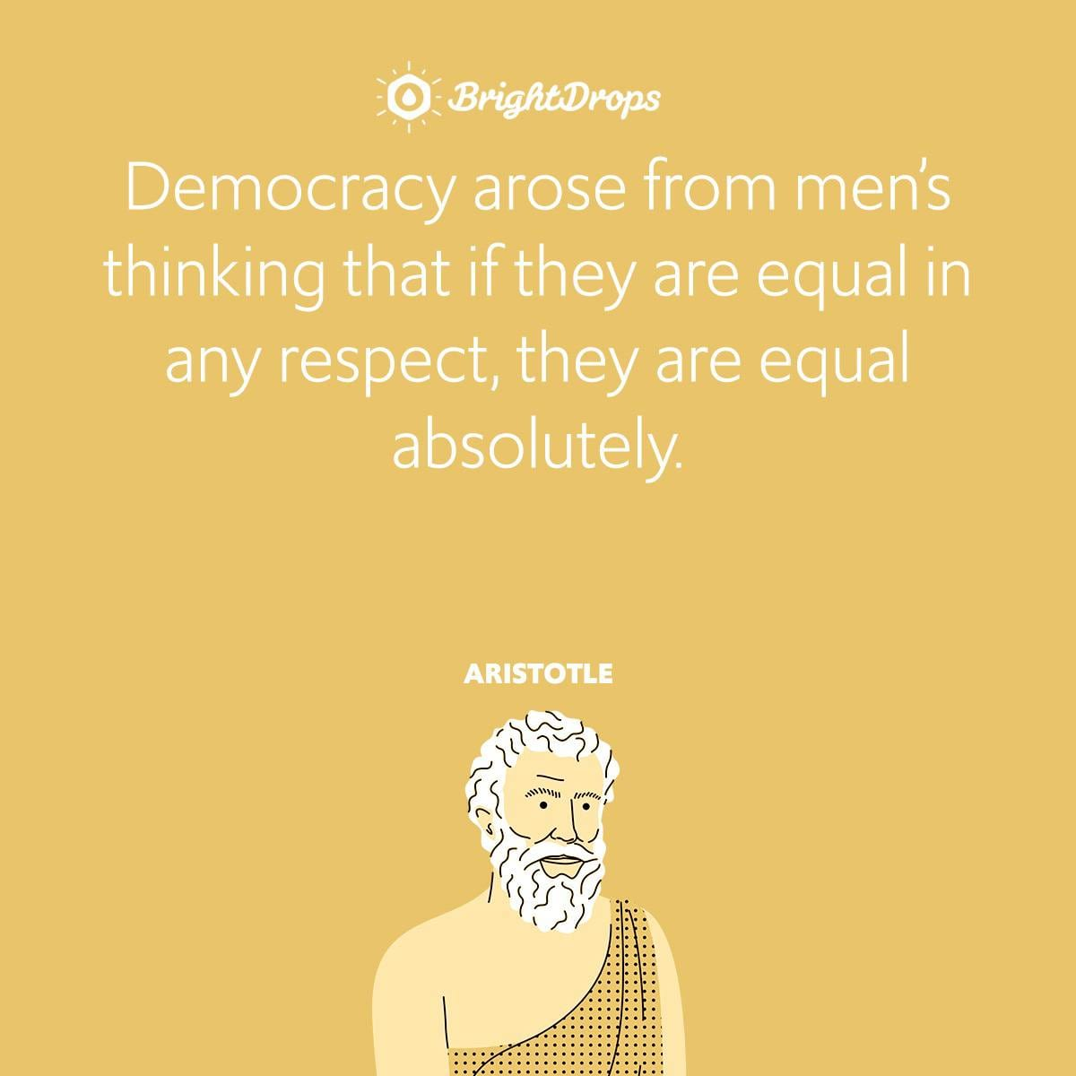 Democracy arose from men's thinking that if they are equal in any respect, they are equal absolutely.