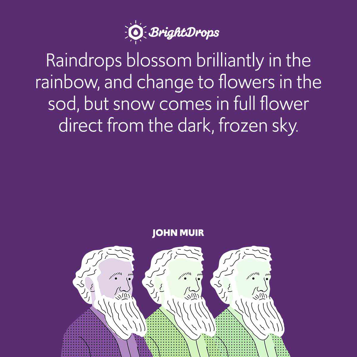 Raindrops blossom brilliantly in the rainbow, and change to flowers in the sod, but snow comes in full flower direct from the dark, frozen sky.