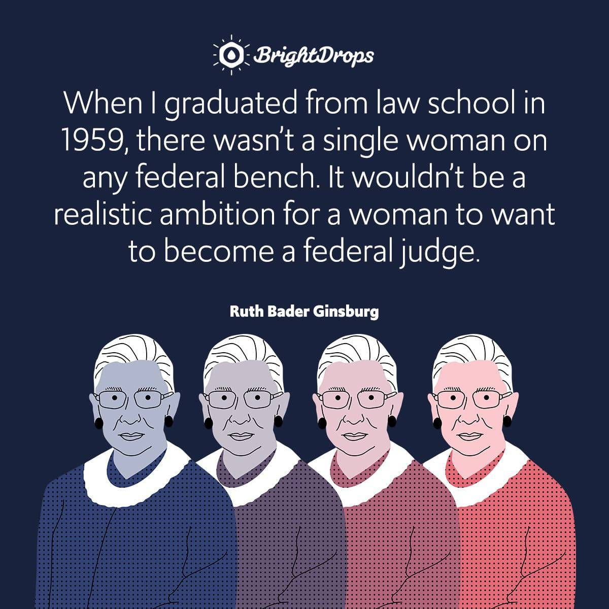 When I graduated from law school in 1959, there wasn't a single woman on any federal bench. It wouldn't be a realistic ambition for a woman to want to become a federal judge.