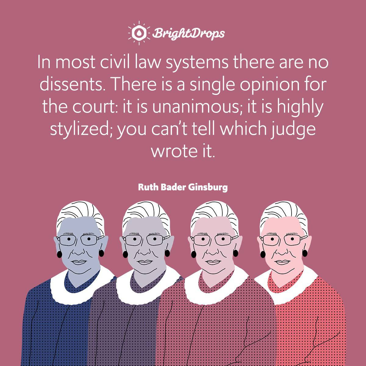 In most civil law systems there are no dissents. There is a single opinion for the court: it is unanimous; it is highly stylized; you can't tell which judge wrote it.