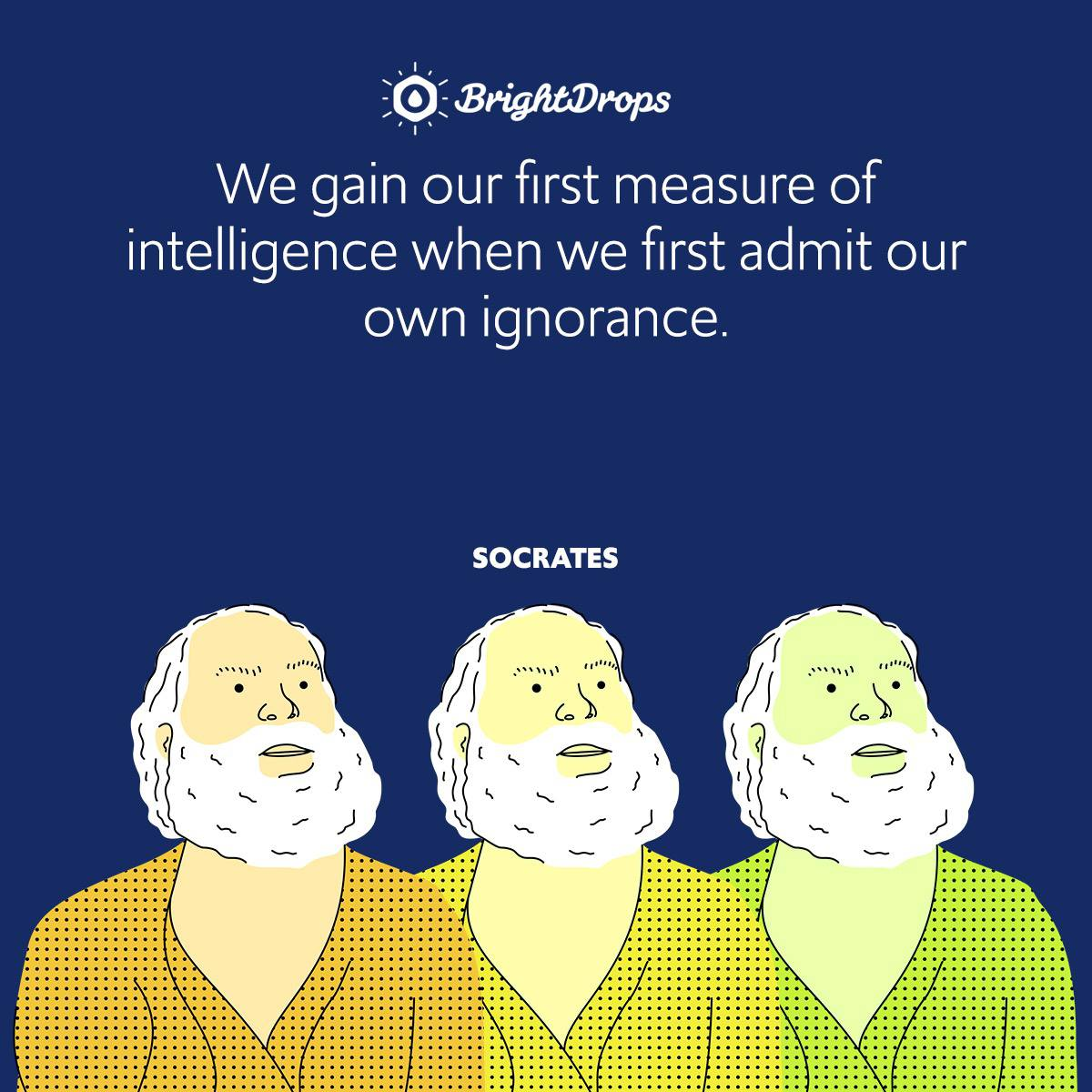 We gain our first measure of intelligence when we first admit our own ignorance.