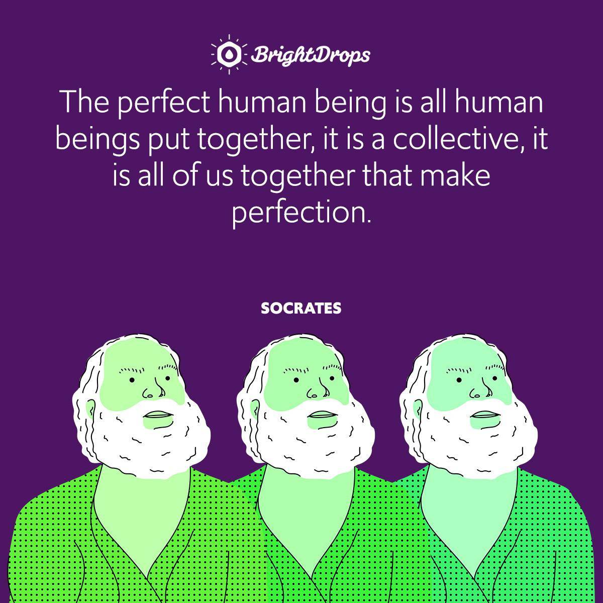 The perfect human being is all human beings put together, it is a collective, it is all of us together that make perfection.